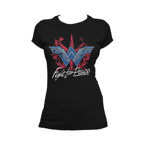 DC Wonder Woman Logo Fight Peace Official Women's T-shirt (Black) - Urban Species Ladies Short Sleeved T-Shirt