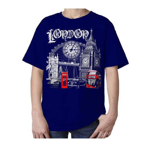 Kids London Technicolour T-shirt (Navy) - Urban Species Kids Short Sleeved T-Shirt