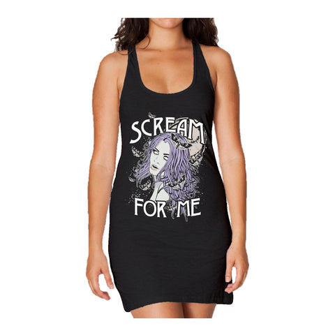 WWE Paige Comic Scream Official Women's Long Tank Dress (Black) - Urban Species Ladies Long Tank Dress