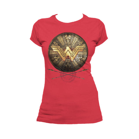 Cool New DC Comics Wonder Woman Logo 3D Shield Official Women's T-shirt (Red) - Urban Species