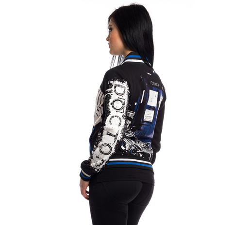Doctor Who Street Women's Varsity Jacket (Black) - Urban Species Ladies Jacket
