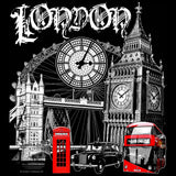 London Technicolour Men's T-shirt (Black) - Urban Species Mens Short Sleeved T-Shirt