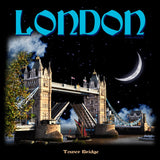 London Tower Bridge - Moonlight Men's T-shirt (Black) - Urban Species Mens Short Sleeved T-Shirt