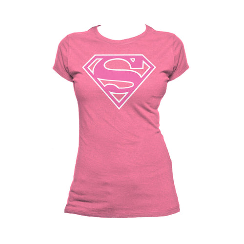 DC Comics Supergirl Logo Classic Official Women's T-shirt (Pink) - Urban Species Ladies Short Sleeved T-Shirt