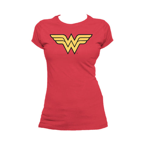 DC Comics Wonder Woman Logo Classic 01 Official Women's T-shirt (Red) - Urban Species Ladies Short Sleeved T-Shirt