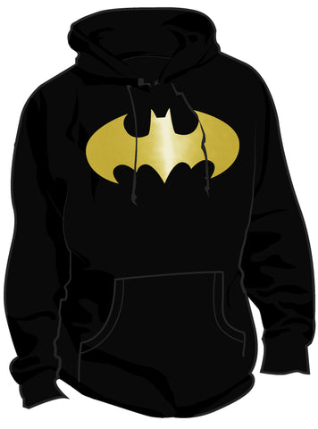 SALE £10 ONLY | DC Batman Logo Classic Metallic Black Ladies Hoody - Urban Species Hoodie