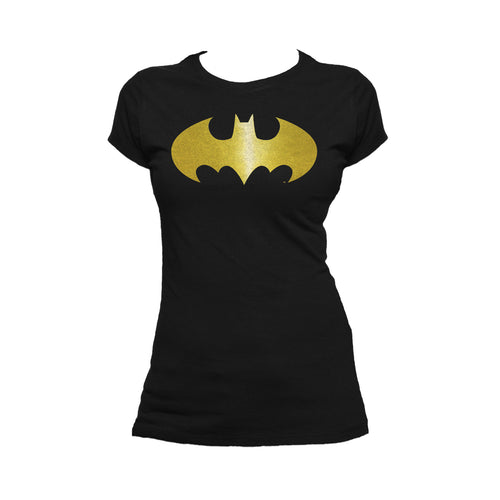 DC Comics Batman Logo Classic Metallic Official Women's T-shirt (Black) - Urban Species Ladies Short Sleeved T-Shirt