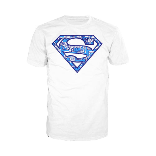 DC Comics Superman Logo Collage Official Men's T-shirt (White) - Urban Species Mens Short Sleeved T-Shirt