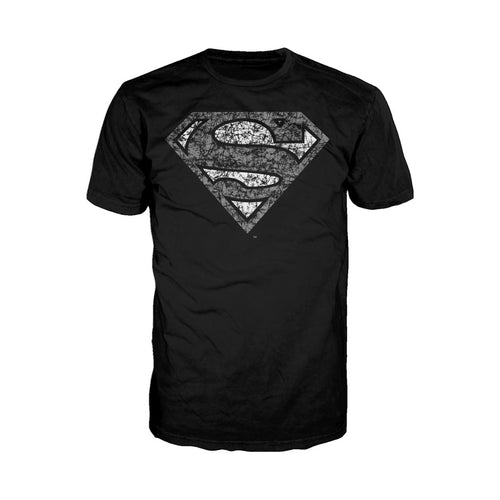 DC Comics Superman Logo Distressed Official Men's T-shirt (Black) - Urban Species Mens Short Sleeved T-Shirt