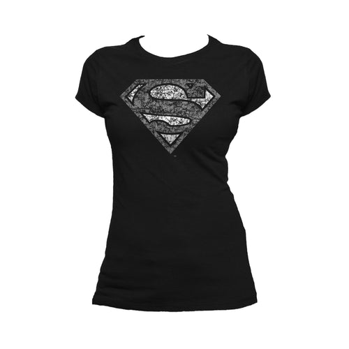 DC Comics Superman Logo Distressed Official Women's T-shirt (Black) - Urban Species Ladies Short Sleeved T-Shirt