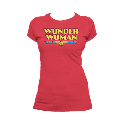 DC Comics Wonder Woman Logo Classic 02 Official Women's T-shirt (Red) - Urban Species Ladies Short Sleeved T-Shirt