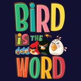Angry Birds Group Text Bird Word Official Women's T-shirt (Navy) - Urban Species Ladies Short Sleeved T-Shirt