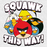 Angry Birds Group Squawk This Way Official Kid's T-shirt (Heather Grey)