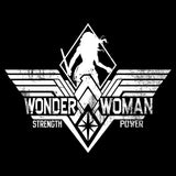 DC Batman V Superman Wonder Woman Stencil Strength Official Women's T-shirt (Black) - Urban Species Ladies Short Sleeved T-Shirt