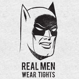 DC Comics Batman Text Real Men Tights Official Men's T-shirt (Heather Grey)