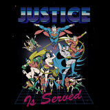DC Comics Justice League Retro 80s Served Official Men's T-shirt (Black) - Urban Species Mens Short Sleeved T-Shirt
