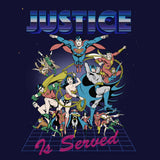 DC Comics Justice League Retro 80s Served Official Women's T-shirt (Navy)