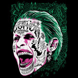 DC Suicide Squad Harley Quinn Joker Face Tattoo Official Men's T-shirt (Black)