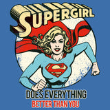 DC Comics Supergirl Text Better Than You Official Women's T-shirt (Royal Blue) - Urban Species Ladies Short Sleeved T-Shirt