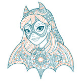 DC Comics Super Hero Girls Batgirl Pattern Bandana Profile Official Kid's T-Shirt (White) - Urban Species Kids Short Sleeved T-Shirt