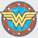 DC Comics Wonder Woman Logo Circle Distressed Official Women's T-shirt (Heather Grey) - Urban Species Ladies Short Sleeved T-Shirt
