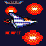 Gradius Character Vic Viper Pixel Official Women's T-shirt (Navy) - Urban Species Ladies Short Sleeved T-Shirt