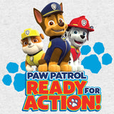 Paw Patrol Ready For Action Official Kid's T-Shirt (Heather Grey)