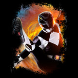 Power Rangers Photo Black Ranger Kick Official Men's T-shirt (Black) - Urban Species Mens Short Sleeved T-Shirt