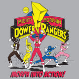 Power Rangers Logo Morph Into Action Official Women's T-shirt (Heather Grey) - Urban Species Ladies Short Sleeved T-Shirt