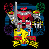 Power Rangers Logo Four Heads Megazord Official Men's T-shirt (Black) - Urban Species Mens Short Sleeved T-Shirt