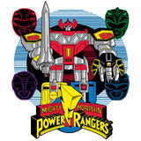 Power Rangers Logo Four Heads Megazord Official Men's T-shirt (White)