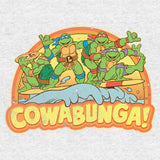 TMNT Gang Retro Cowabunga Official Women's T-Shirt (Heather Grey) - Urban Species Ladies Short Sleeved T-Shirt
