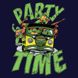 TMNT Gang Retro Party Wagon Official Women's T-Shirt (Navy) - Urban Species Ladies Short Sleeved T-Shirt