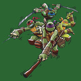TMNT Group Attack Official Men's T-shirt (Green) - Urban Species Mens Short Sleeved T-Shirt
