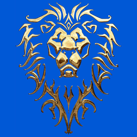 Warcraft Alliance Logo Metallic Official Women's T-shirt (Royal Blue) - Urban Species Ladies Short Sleeved T-Shirt