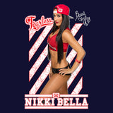 Cool New WWE Nikki Bella +Logo Fearless Pose Official Varsity Jacket (Navy) - Urban Species Mens Varsity Jacket