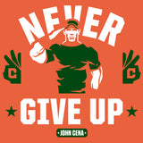WWE John Cena Never Give Up Salute Official Women's T-shirt (Orange) - Urban Species Ladies Short Sleeved T-Shirt