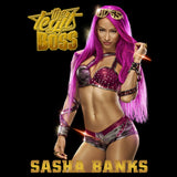WWE Sasha Banks Logo Boss Pose Official Women's T-shirt (Black)