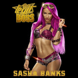 WWE Sasha Banks Logo Boss Pose Official Women's Long Tank Dress (Black)