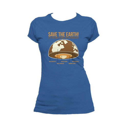 I Love Science Save The Earth - Chocolate Official Ladies T-Shirt (Royal Blue) - Urban Species Ladies Short Sleeved T-Shirt