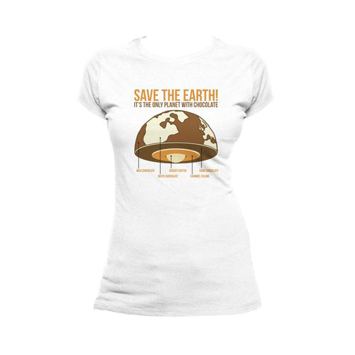 I Love Science Save The Earth - Chocolate Official Ladies T-Shirt (White) - Urban Species Ladies Short Sleeved Shirt