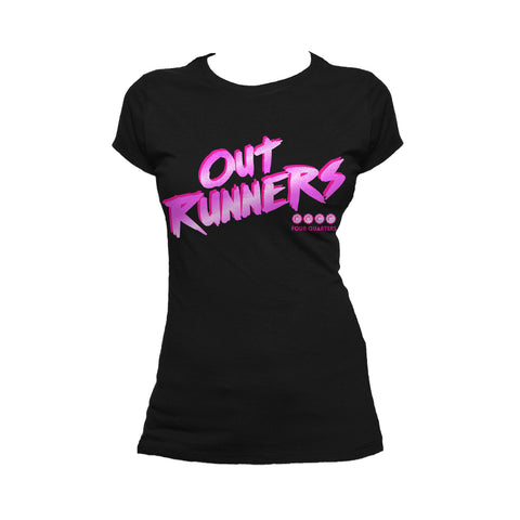 4 Quarters Logo Outrunners Official Women's T-shirt (Black) - Urban Species Ladies Short Sleeved T-Shirt