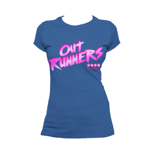 4 Quarters Logo Outrunners Official Women's T-shirt (Royal Blue) - Urban Species Ladies Short Sleeved T-Shirt