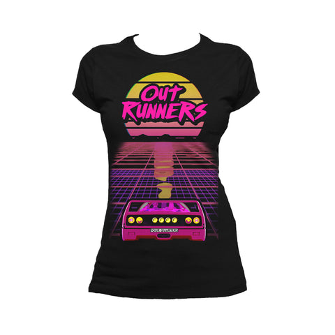 The Four Quarters Outrunners Flyer Official Women's T-shirt (Black) - Urban Species Ladies Short Sleeved T-Shirt