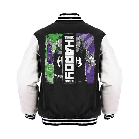 WWE Hardy Boyz Splash Official Varsity Jacket (Black) - Urban Species Mens Varsity Jacket