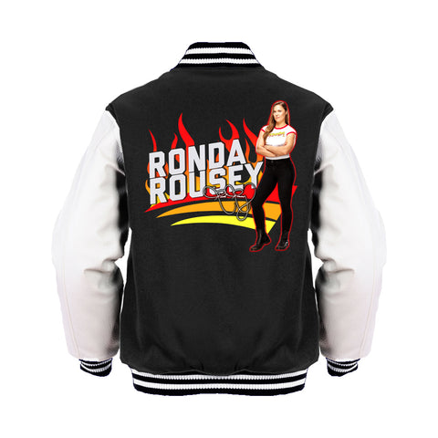 WWE Ronda Rousey Cover Official Varsity Jacket (Black) - Urban Species Mens Varsity Jacket