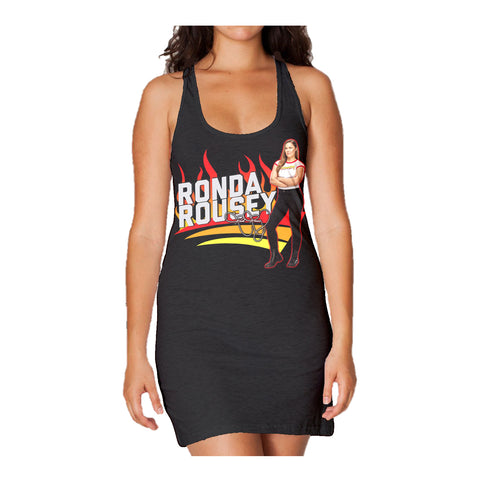 WWE Ronda Rousey Cover Official Women's Long Tank Dress (Black)