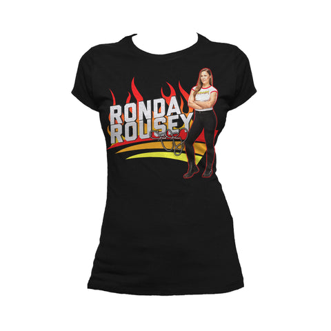 Cool New WWE Ronda Rousey Cover Official Women's T-shirt (Black) - Urban Species Ladies Short Sleeved T-Shirt