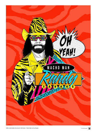 WWE Black Label Macho Man Randy Savage Official Art Print (A3 Size) - Urban Species N/A Tote bag