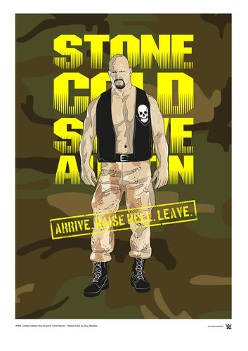 WWE Black Label Stone Cold Steve Austin Official Art Print (A3 Size) - Urban Species N/A Tote bag